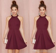 Sexy Short Cocktail Party Dresses 2015 Halter Backless Burgundy A Line Above Knee Length Prom Homecoming Gowns Custom Made Women Formal Wear Short Prom Dresses Dresses for Women Short Cocktail Dresses Online with 86.0/Piece on Magicdress2011's Store   DHgate.com