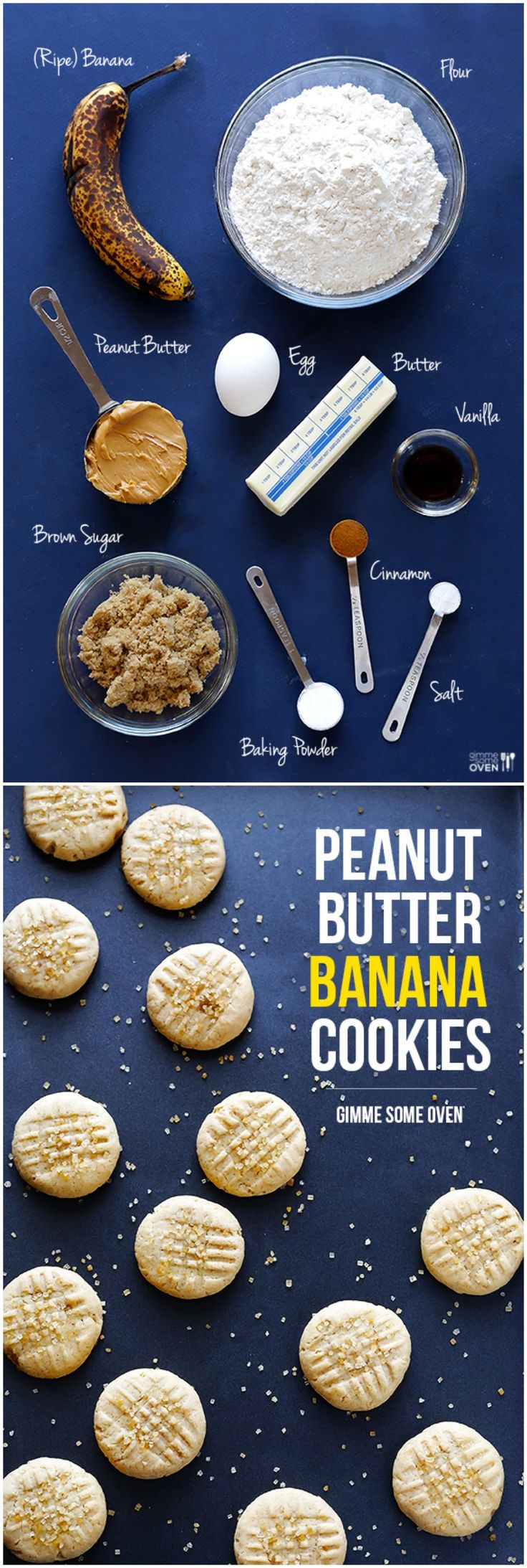 Peanut Butter Banana Cookies -- these are easy to make, and taste like a cross between banana bread and pb cookies!! | gimmesomeoven.com #dessert