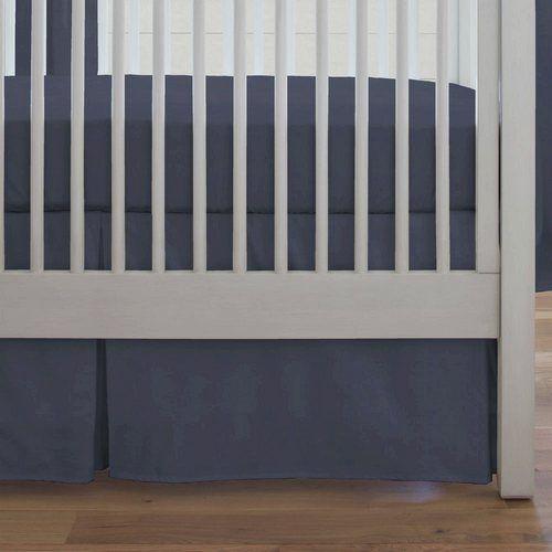 Solid Navy Crib Skirt Box Pleat   Carousel Designs