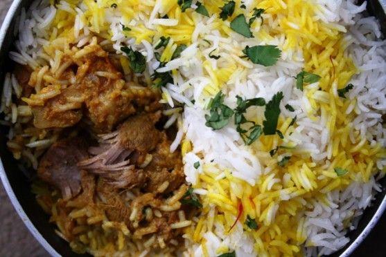 Gosht ki Biryani – Lamb Biryani cooked in layers with saffron, butter and whole spices/