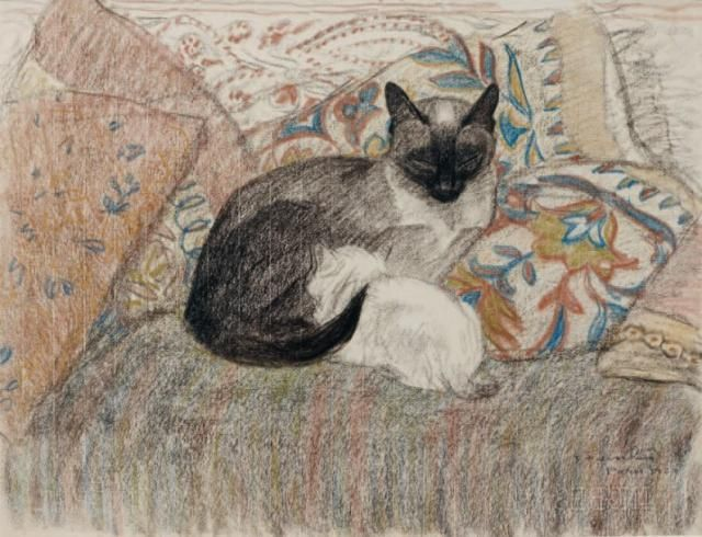 """Théophile Alexandre Steinlen  Steinlen's Paris home became known as """"Cat's Corner"""". His love of felines found expression  not only in numerous commercial posters, but in many other artistic media including   sculpture, painting, drawing, wall painting, editorial illustration and cartooning."""