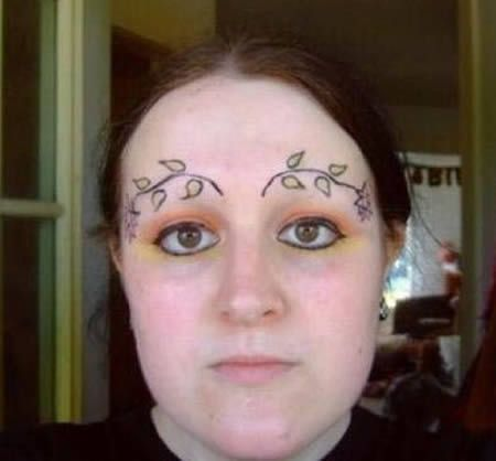 Good advice:  If you over-pluck your eyebrows, be sure to tattoo ivy sprigs in replacement, so nobody will notice.