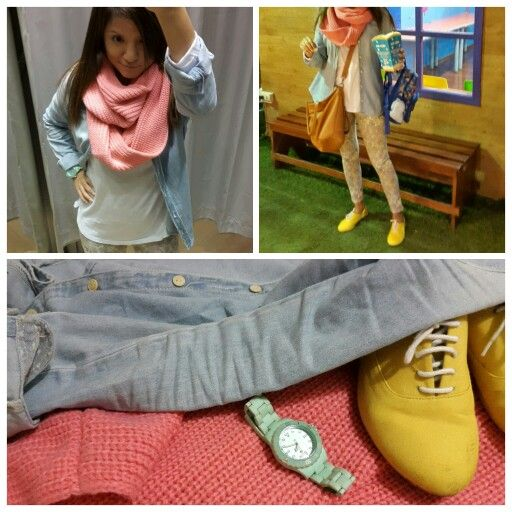 Sunday colors. Yellow shoes, pink scarf, white shirt, jean shirt, turquoise watch.