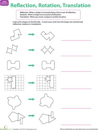 Worksheets: Reflection, Rotation, Translation