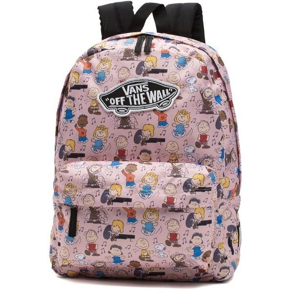 Vans x Peanuts Dance Party Realm Backpack ($42) ❤ liked on Polyvore featuring bags, backpacks, pink, vintage rucksack, party backpack, vintage comic book, day pack backpack and cartoon backpack