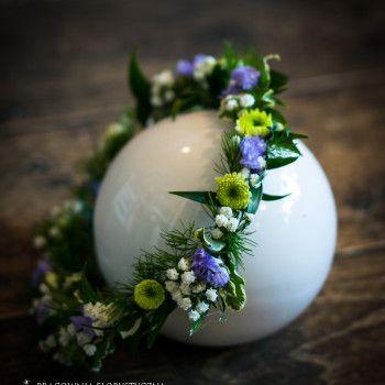 wianek na głowę druhna kwiatowy fioletowy zielony gipsówka