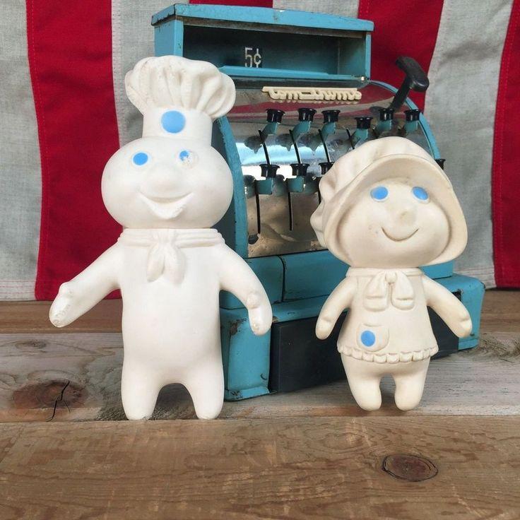 Vintage Pillsbury Doughboy and Mrs. Pillsbury Rubber Dolls Set of 2 #Pillsbury