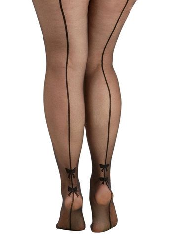 Back Seams to Me Tights in Plus Size. Youve got a feeling that these back-seamed tights from Pretty Polly are your new faves! #black #modcloth