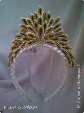 Украшение Новый год Цумами Канзаши Новогоднее ч 2 короны Ленты фото 5