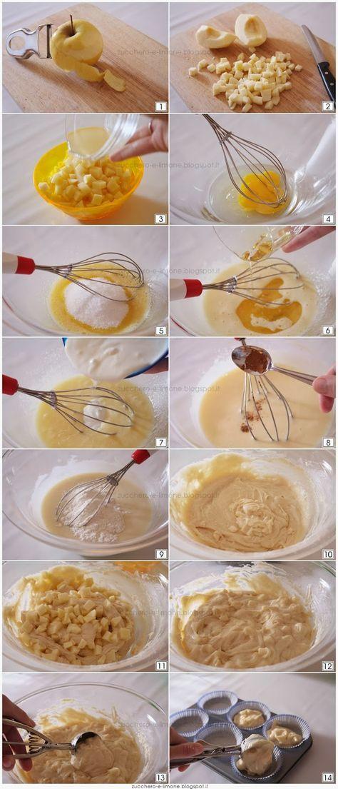 Muffin alle mele Ecco la ricetta (per 12 muffin): 250 gr di farina 00 125 gr di zucchero 250 gr di yogurt bianco dolce (*) 1 uovo 80 ml di olio di riso 250 gr di mele 2 cucchiai di succo di limone 1 bustina di lievito 1 pizzico di cannella / vanillina