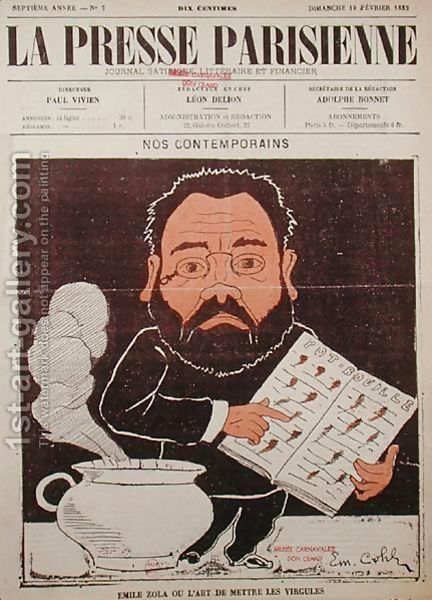 Front cover of La Presse Parisienne with a caricature of Emile Zola (1840-1902) by Emile Cohl