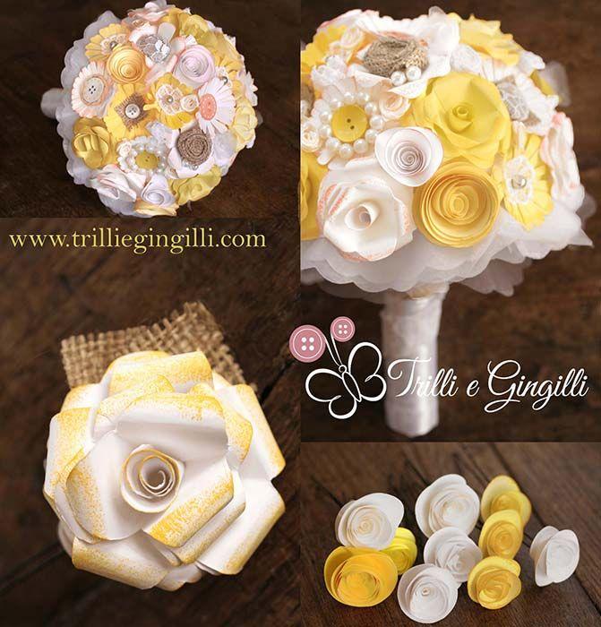 Set coordinato bouquet di carta e accessori gialli