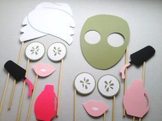 12 Spa Day Photo Booth Props – Photo Booth Props – Girls Spa Day – Birthday Party