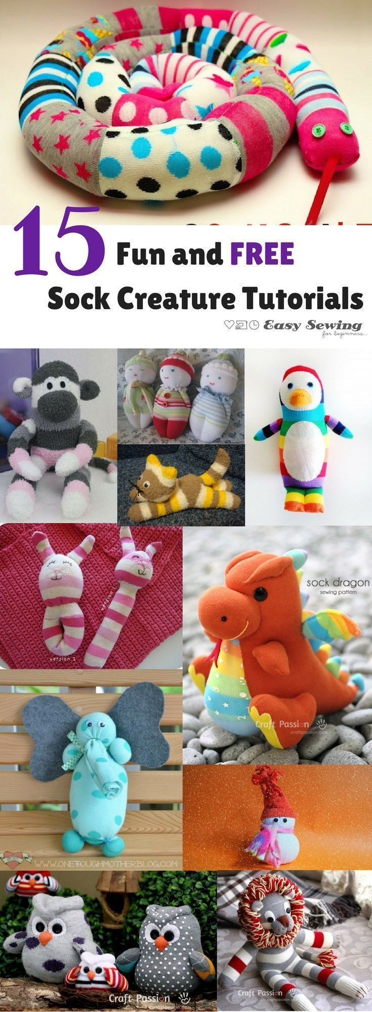 15 funny and free sock creature tutorials for sewing!