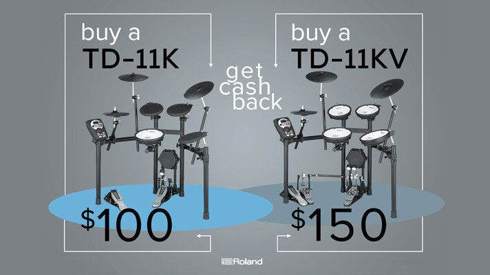 Buy a Roland TD-11KV V-Compact Series Drum Kit through July 31 and get $150 cash back! Shop electronic drums here https://www.bananas.com/collections/rebates/roland+electronic-drums?sort_by=price-ascending&utm_campaign=coschedule&utm_source=pinterest&utm_medium=Bananas%20At%20Large%C2%AE