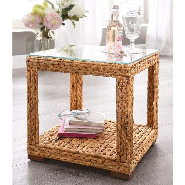 Table basse carrée en jacinthe d'eau tressée à plateau verre Home Affaire
