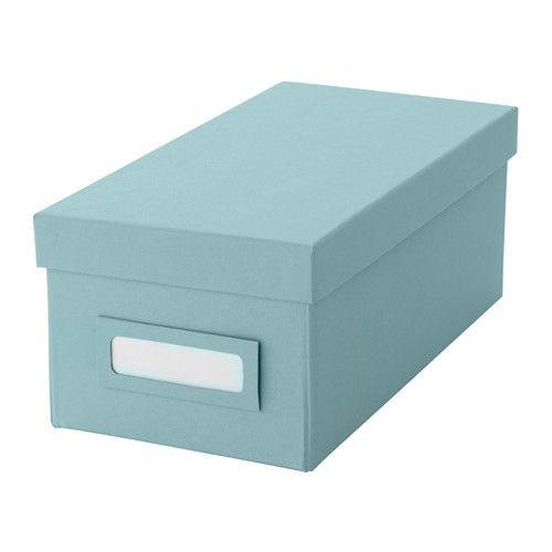 TJENA Kasten mit Deckel, hellblau hellblau 13x26x10 cm