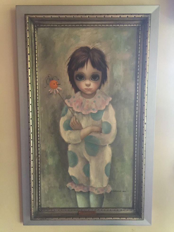 """Margaret Walter Keane 1962 Oil Painting Big Eyed Girl Used in Movie Big Eyes 