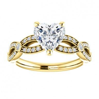10kt Yellow Gold 7x7mm Center Heart Shape Diamond Engagement Ring.. #10kt #Yellowgold #7mm #Heartshape #Diamonds #Engagement #Ring #Gold #Fashion #Engagementring