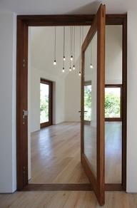 pivoting glass door...