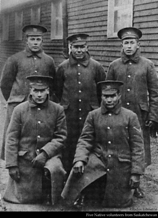 """Five Native/Aboriginal volunteers from Saskatchewan."" Canadian Army Corps WWI"