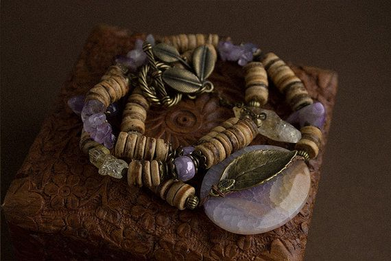 Violet Moon bracelet with natural stones