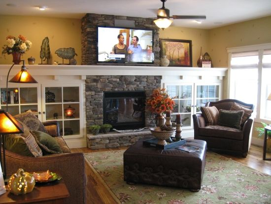 family room move tv above fireplace and add shelving storage on either side of fireplace for. Black Bedroom Furniture Sets. Home Design Ideas