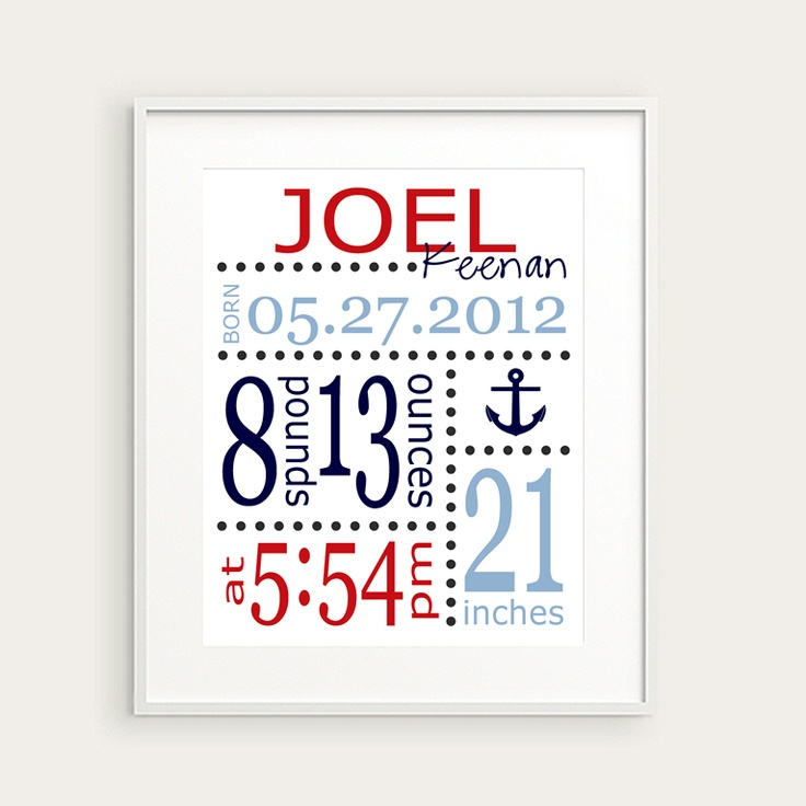 Nautical Nursery Decor - Anchor or Boat Art Print - Personalized Birth Announcement or Baby Gift, You Choose Illustration & Colors. $20.00, via Etsy.