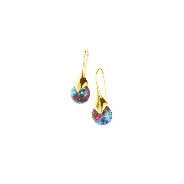 PUSHMATAAHA // Mini Masai Earrings / Blue Purple Turquoise with Gold Plate