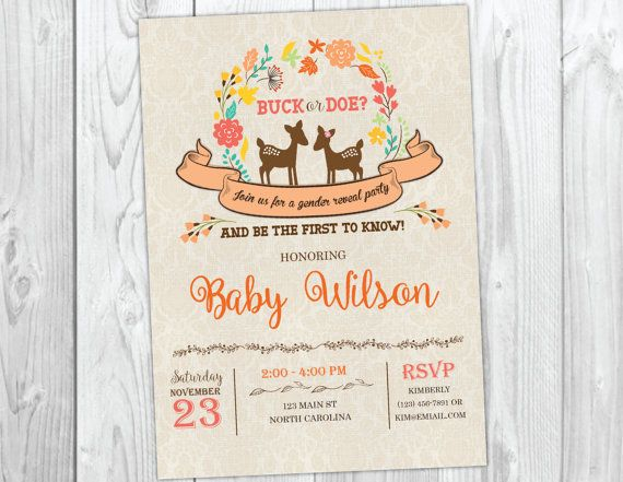 Buck or Doe Gender Reveal Party Invitation  by YourMainEventPrints