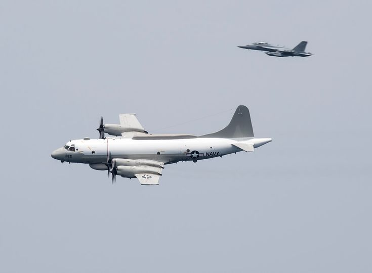 """Photo: """"World Watcher"""" EP-3 Aries escorted by an EA-18G"""