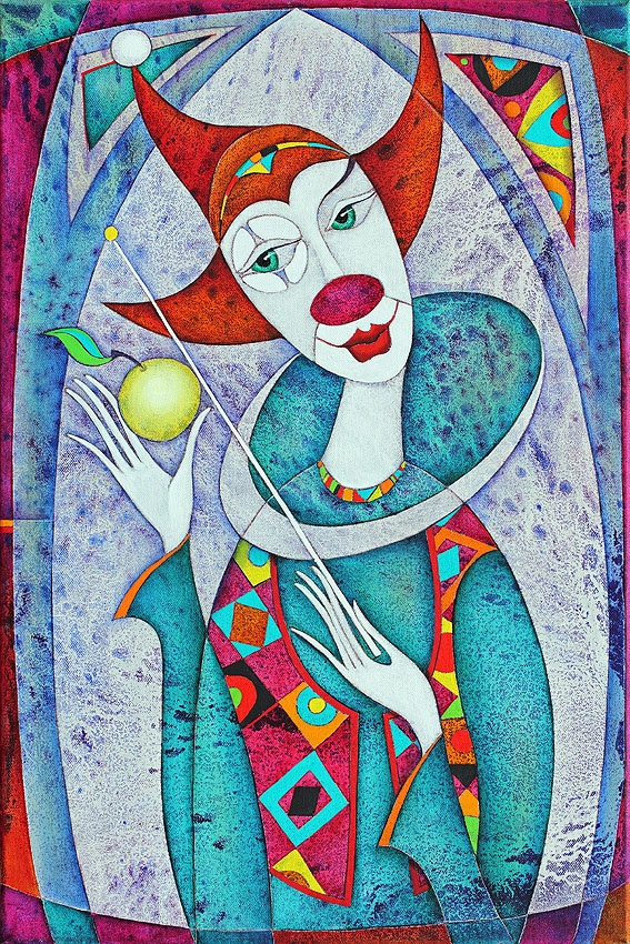 "From his 'Secession' series of Paintings: title for this is ""Clown"" - size:60x40 ✿≻⊰❤⊱≺✿"