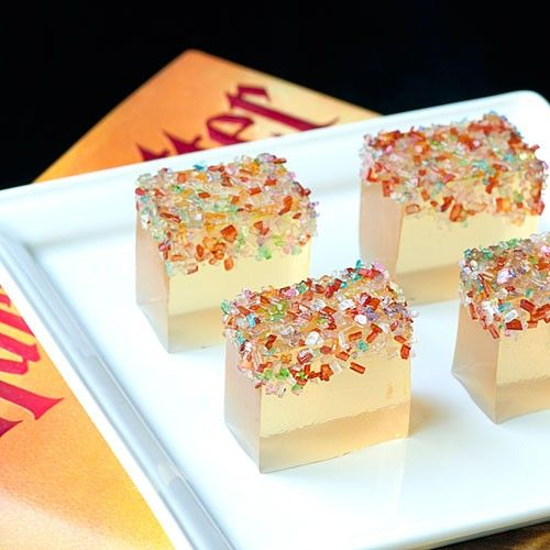 Champagne jello shots for new years, with Pop Rocks!