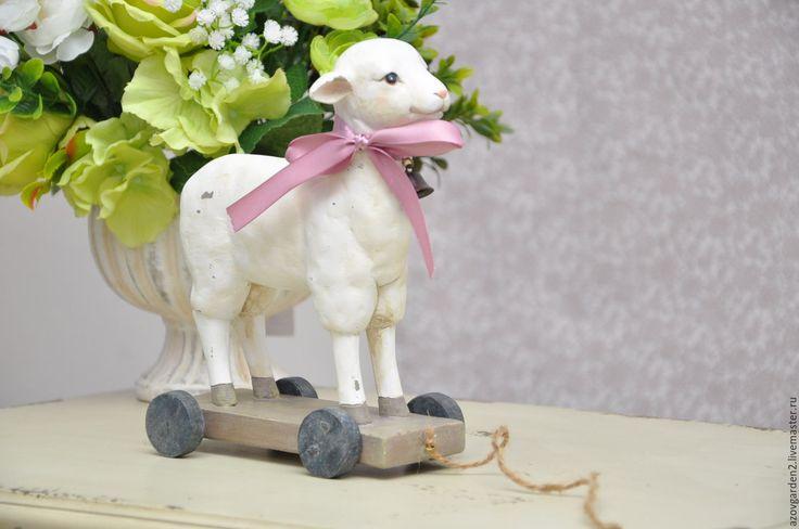Купить Статуэтка Овечка на колесиках для декора, прованс шебби-шик - лофт, прованский стиль