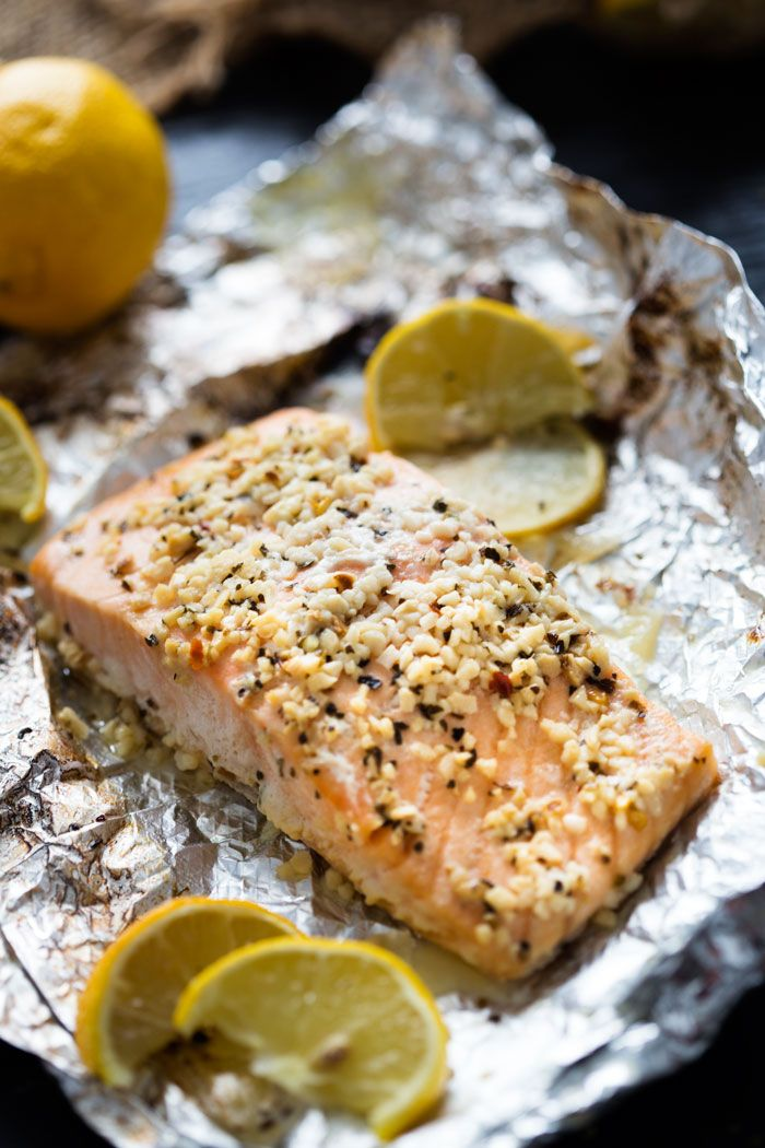 A fantastic garlic butter with lemon and basil salmon, that is easy to make and cooks in foil for easy clean up.