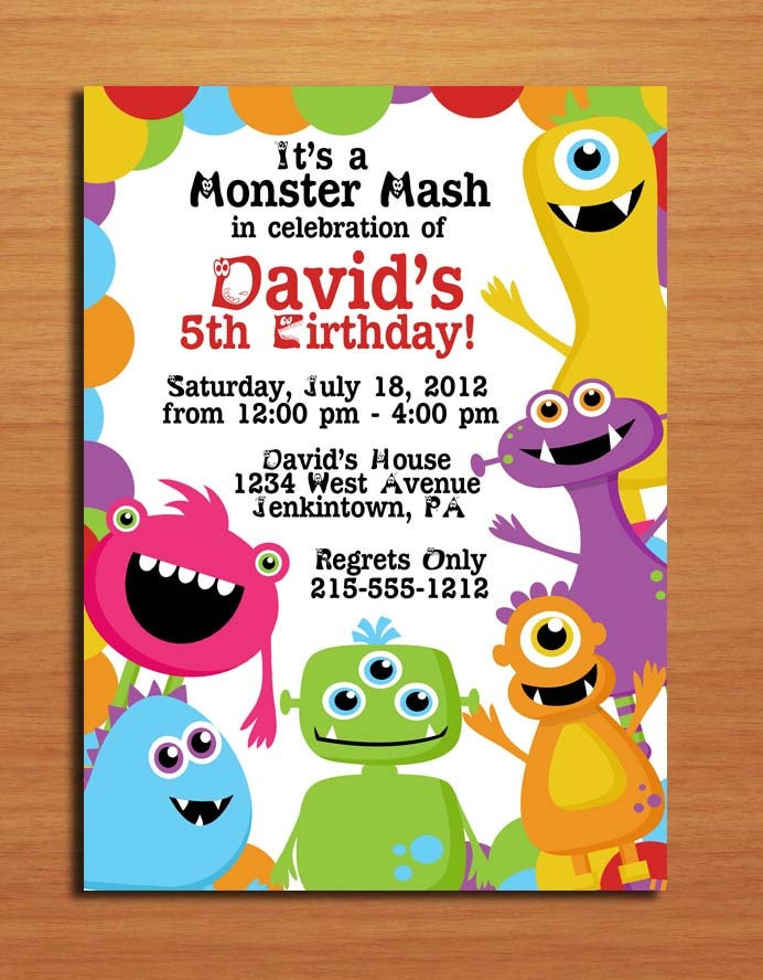 Monster Mash / Birthday Party Invitation Cards PRINTABLE DIY
