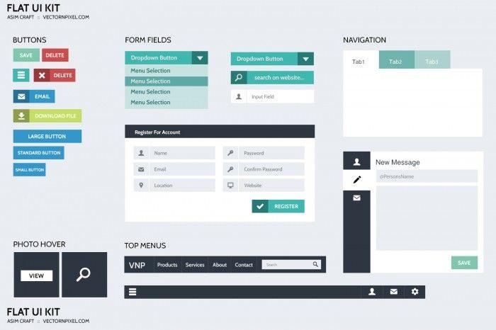 Flat Design UI/UX Kit for Websites - Fribly #grafica #web