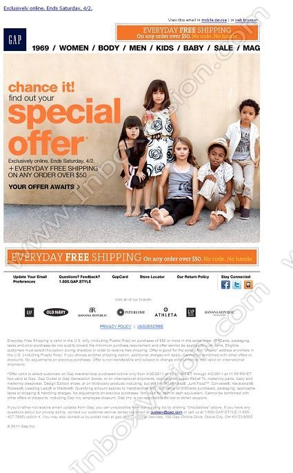Brand - Baby Gap:  Subject:  Our apologies! Gap.com is back up. Find out your special offer now