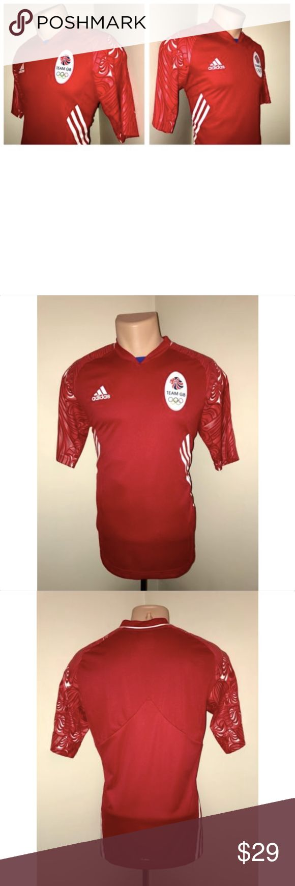 "2012 Olympics Team Great Britain Football Jersey PLEASE NOTE MEASUREMENTS BELOW TO ENSURE PROPER FIT  Size: Small Color: Red Tag Measurements- S Material: Polyester Condition: Excellent Features: Short sleeve, ClimaCool Technology, Comfortable and lightweight, Rarely worn and no sign of fading or peeling or cracking of the design on the sleeves Flaws: One very small stitch flaw on the bottom front, less than 1'16"" (see photo) Not noticeable.  Measurements:  Chest - 19.5 inches  Shoulder to…"