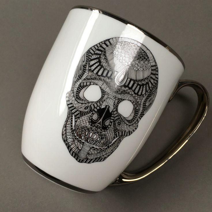 Hand painted with platinum  Bone porcelain
