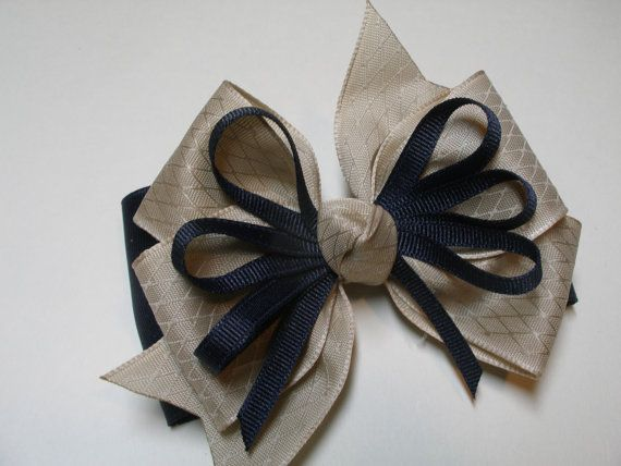 Back to School Uniform Hair Bow Dark NAVY Blue by HareBizBows