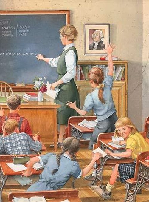 Back in these days ... all the girls wore dresses, or skirts and tops ... even the teacher!