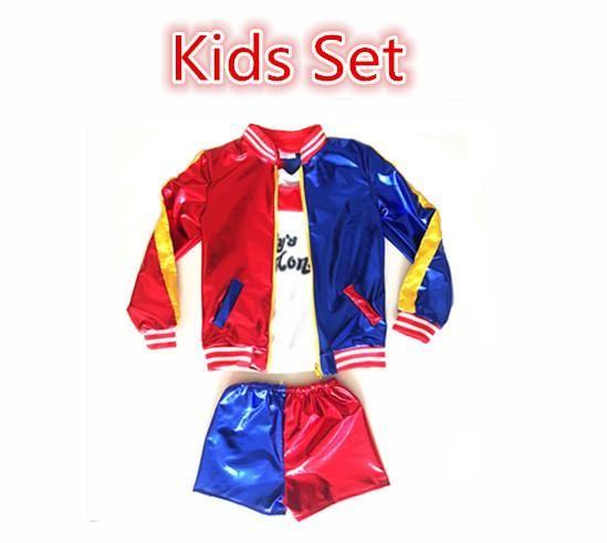 Suicide Squad Harley Quinn Cosplay Costume Girls Kids Children Halloween JOKER Costume Jacket T-shirt Shorts Suit Set