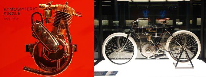 ウィスコンシン州ミルウォーキーにて、ウィリアム・S・ハーレーとアーサー・ダビッドソンが自転車用バイクエンジンの開発を行う。そこにアーサーの兄ウォルター・ダビッドソンが加わり、「ハーレーダビッドソン第1号」が誕生した(単気筒エンジン/排気量409cc/3馬力)。トマトの空き缶を利用したキャブレターなど、手作り感あふれる一台だった。