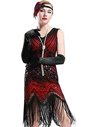 Flapper Kleid mit Pailletten und V-Ausschnitt, knielanges Cocktailkleid, rot – VinTageBuch