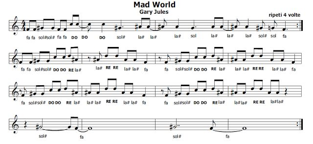 Musica e spartiti gratis per flauto dolce: Mad World