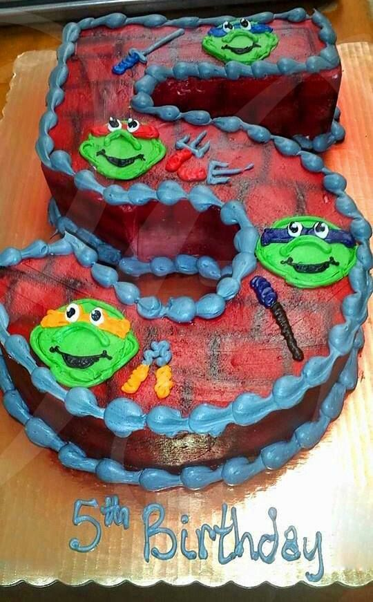 Ninja Turtles Birthday Cake Turtle For Each Layer