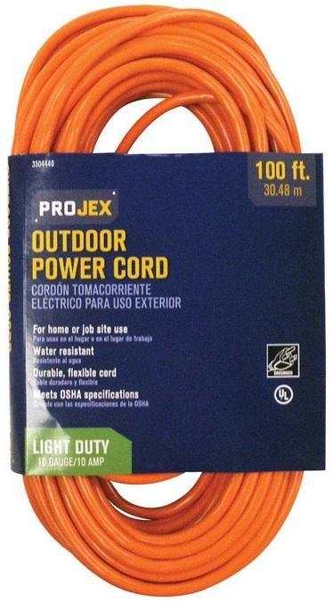 Projex FW-450P Indoor And Outdoor Extension Cord, Orange, 100', 16 Gauge