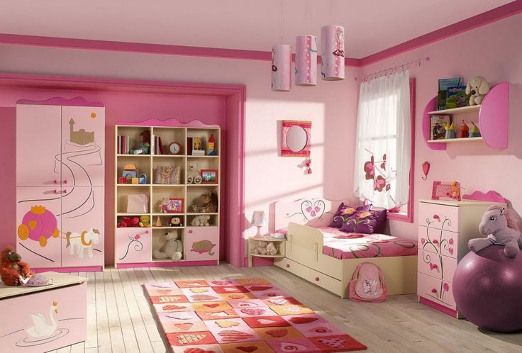 Teen Rooms. Adorable Teens Bedroom Design Ideas for Girls. Playful Pink Girls Bedroom Design with Nice Fun Area Rug, Cool Decorative Cabinet, Chest of Drawers and Shelves with Lovely Stuffed Animals, Cute Handmade Pendant Lights, and Comfortable Bedding
