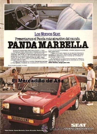 PUBLICIDAD DEL SEAT PANDA MARBELLA COCHE ANUNCIO MOTOR CARTEL PEQUEÑO